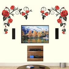 Background Red Roses With Vine Wall Stickers Wall Decals Decalsdesignindia