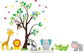 Amazon Com Zoo Animal Wall Stickers Zoo Animal Mural Nursery Print Safari Animal Wall Decals Jungle Wall Stickers Large Animal Decals For Nursery Room Kids Room Wall Stickers Nursery Decorations Baby