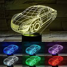 Car Visual 3d Night Lights For Kids Bedroom Desk Table Decoration 7 Colors Changing Led Illusion Lamp Creative Festival Birthday Children Gift Cuddarrarinchi