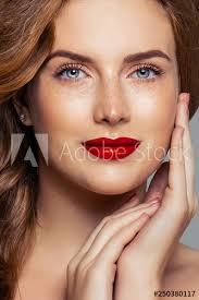 closeup portrait ginger hair freckles