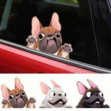 Funny Dog Animal Door Window Car Accessories Auto Decorations French Bulldog Sticker Cartoon Dog Car Stickers Wish