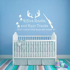 Buy Wall Decal Decor Rifles Racks Deer Tracks Thats What Little Boys Are Made Of Baby Boy Nursery Decor Hunting Theme Camo Deer Room Crib White 12 H X22 W In Cheap Price