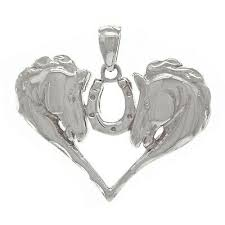14k white gold heart shape horse faces