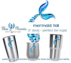 Mermaid Tail Color Cup Decal Blue Phoenix Vinyl Boutique