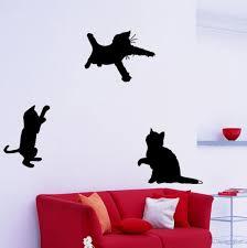 Set Of 3 Black Cats Silhouettes Playful Kitties Wall Vinyl Etsy