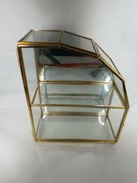 vtg glass brass small curio wall table
