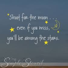 Shoot For The Moon Wall Quote Inspiring Wall Lettering Decals For Kids Rooms