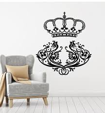 Vinyl Wall Decal King Crown Birds Ornament Vintage Style Stickers Mura Wallstickers4you