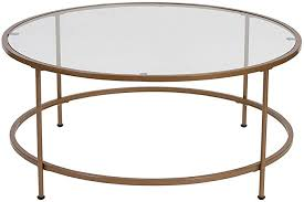 gold coffee table round glass modern