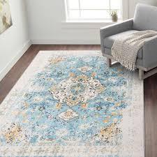 Bungalow Rose Hartig Oriental Blue Area Rug in 2020   Area rugs, Blue area  rugs, Rugs