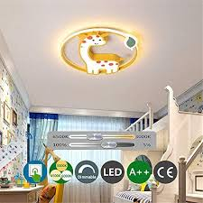 Led Child Ceiling Light Creative Giraffe Kid Ceiling Lamp Yellow With Remote Control Dimmable For Kid