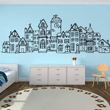 Large Scandinavian Style Cute Village City Wall Sticker Bedroom Sofa Nordic Scandi Town Wall Decal Living Room Nursery Vinyl Art Wall Stickers Aliexpress