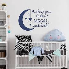 We Love You To The Moon And Back Quotes Wall Sticker Baby Nursery Wall Decal Removable Children Room Quote Vinyl Wall Decor Q321 Wall Stickers Aliexpress