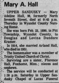 Obituary for Mary Adeline Hall (Aged 98) - Newspapers.com