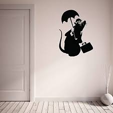 Drowned Rat Banksy Wall Decal Wall Sticker Vinyl Wall Art Wall Applique Home Decor Mural B1002 16in X 22in Dark Red Walmart Com