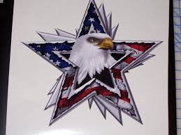 American Flag Eagle Star Full Color Graphic Window Decal Stick