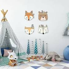 Wooden Forrest Animal Heads Wall Decor Kid Room Decor Nursery Room Decor Kids Bedroom Walls
