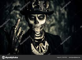 man skull makeup dressed tail