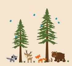 Pine Trees Wall Decal Childrens Woodlands Decal By Wallartplanet Tree Wall Decal Woodland Decal Wall Decals