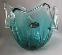 murano art glass bowl deep green
