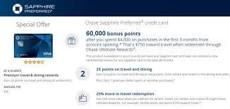 chase sapphire preferred earn 60 000