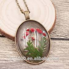 oval clear resin pendant necklace