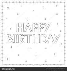 Gelukkig Verjaardagskaart Met Cirkels Kleurplaat Vectorillustratie