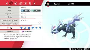 Pokemon Sword and Shield Shiny Kyurem Zekrom Reshiram 6IV ...