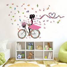 Girls Music Letter Bird Wall Stickers Pvc Kids Room Home Decor