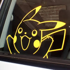 Pikachu Car Window Sticker A5 Size Yellow Decal Pokemon Go Etsy