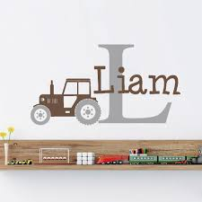 Tractor Customized Name Monogram Wall Stickers Nursery Room Vinyl Wall Decal Graphics Boys Baby Bedroom Home Decor Sa612 Leather Bag