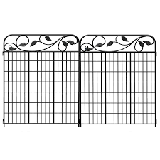 Shop No Dig 2 Pack Black Powder Coated Steel Decorative Fence Panel Common 3 Ft X 3 7 Ft Actual Fence Panels Steel Fence Panels Metal Fence Panels