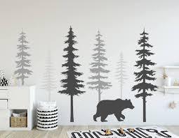 Amazon Com N Sunforest Nursery Wall Decals Pine Tree Wall Decals With Large Bear Wall Decal Wall Mural Stickers Nursery Tree Art Nature Wall Decals Home Kitchen