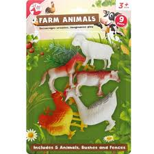 8pc Large Big Farm Animals Plastic Toys Model Playsets Cow Chicken Horse Figures For Sale Online Ebay