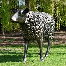 cast aluminium steve the sheep garden