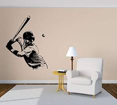 Amazon Com Vinyl Sticker Baseball Player Ball Sport Game Boys Room Poster Mural Decal Wall Art Decor Eh1082 Handmade