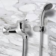 wall mount tub faucet with hand shower