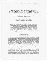 INITIAL RESULTS FROM THE MULTI-MEGAWATT 110 GHz ECH SYSTEM FOR THE DIII-D  TOKAMAK