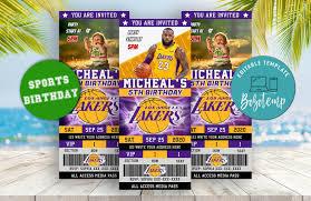 Editable Los Angeles Lakers Ticket Invitacion Descarga Instantanea