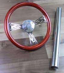 1970 Ezgo Golf Cart Chrome Flame Wood Steering Wheel W Column Cover Hub Kit Walmart Com Walmart Com