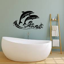Vinyl Wall Decal Sea Waves Fish Dolphins Nautical Style Cartoon Bathro Wallstickers4you