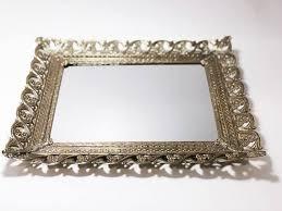antique gold vanity tray filigree