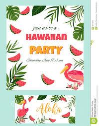Cartel Hawaiano Tropical Con La Plantilla Del Partido Del Pelicano
