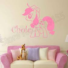Cartoon Horse Custom Name Personalized Name Wall Stickers For Girls Rooms Nursery Wall Decals Baby Girls Room Decoration Zw85 Aliexpress