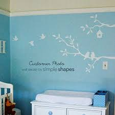 Amazon Com Simple Shapes Birds And Branches Wall Decal Small White Home Kitchen