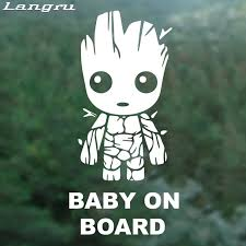 Langru Tall Baby Groot Board Die Cut Vinyl Decal Sticker Funny Car Stickers Creative Decor Car Accessories Jdm Car Stickers Aliexpress