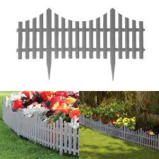 4 Grey Plastic Wooden Effect Lawn Border Edge Garden Edging Picket Fencing Set Ebay