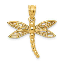 14k yellow gold dragonfly pendant charm