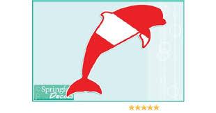 Amazon Com Dolphin Dive Flag 1 Vinyl Decal 6 Car Truck Window Sticker Scuba Diving Kitchen Dining