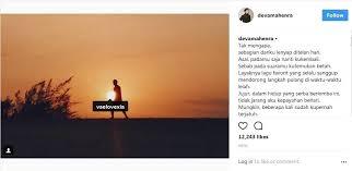 deva mahenra unggah foto dengan caption puisi cinta untuk velove vexia